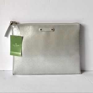 KATE SPADE Metro LRG Pouch silver perforated BNWT